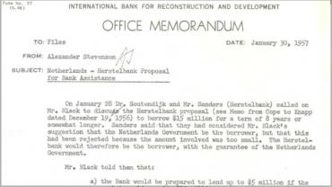 Memo from A. Stevenson to files on meeting to discuss Herstelbank proposal (1698028).