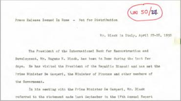 Press release regarding President Black's mission to Italy (1868975).