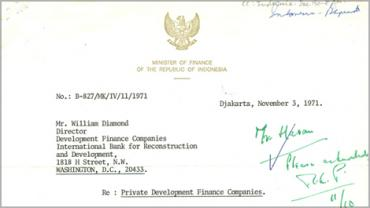 Detail of correspondence from Indonesian Finance Minister Ali Wardhana to World Bank Group (1787224).