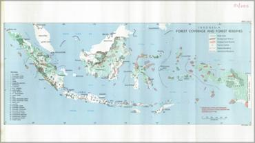 """Forest coverage and forest reserved in Indonesia"" map reprinted in report (report no. 7822)."