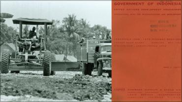 Construction of a 25-mile paved highway (1723764; Credit: The World Bank); cover of <em>1968-1970 Highway Services</em> report (131382B).