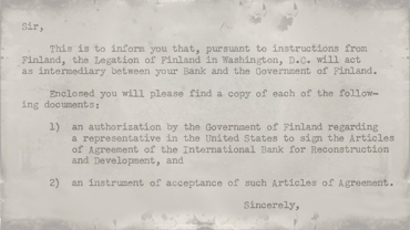 Correspondence from Legation of Finland to President McCloy