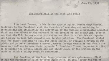 The Bank's Role in Post-1952 World