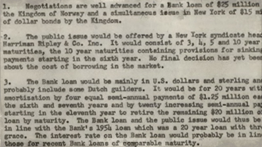 Memo on a proposed loan to Norway