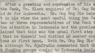 Memorandum summarizing President Black's meeting with Indonesian officials