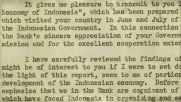 Correspondence from President Black to Indonesian Finance Minister Dr. Yusuf Wibisono