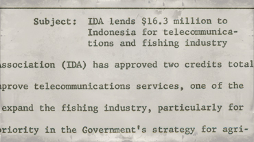 Press release -- IDA lends $16.3 million to Indonesia for telecommunications and fishing industries