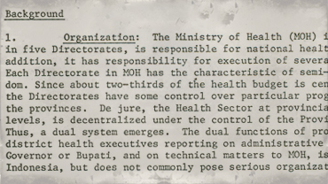 Briefing note for meeting with Indonesian Minister of Health