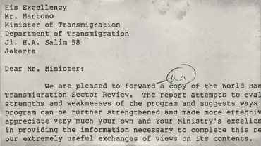 Correspondence from D. C. Rao to Indonesian Minister of Transmigration Martono