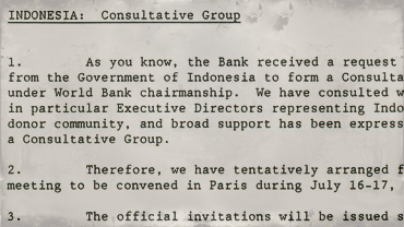 Memorandum announcing date for first Indonesian consultative group meeting