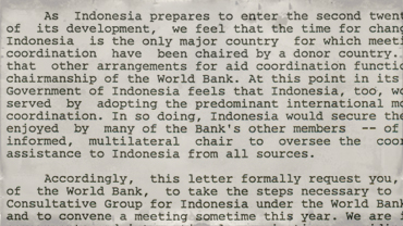 Correspondence from Indonesian Finance Minister Sumarlin to President Preston