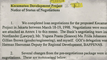 Memorandum regarding loan negotiations