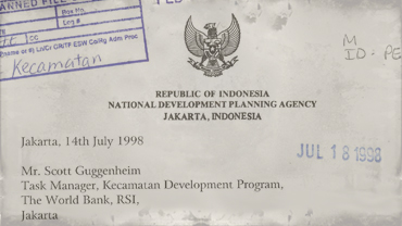 Correspondence from Indonesian National Development Planning Agency to Scott Guggenheim